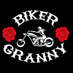 biker granny with red roses ladies biker design