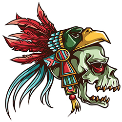 skull with eagle headdress tattoo style design