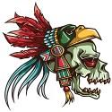 skull with eagle headdress tattoo style design