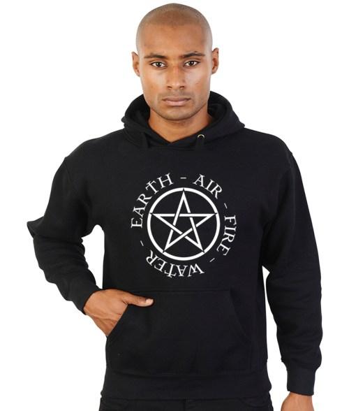 pentacle with elements pagan hoodie