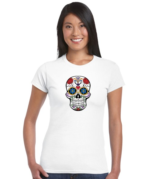 sugar skull design 10 ladies white shirt
