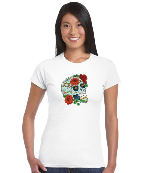 sugar skull design 05 ladies white shirt