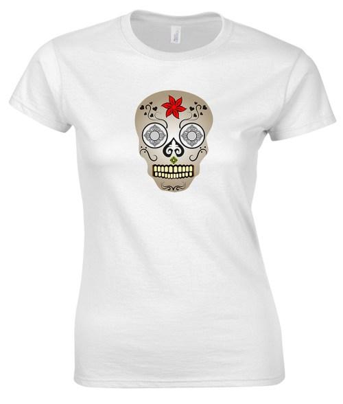 sugar skull design 11 ladies white shirt