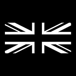 union jack in black and white design