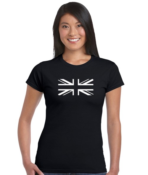union jack in black and white shirt