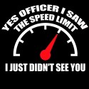 yes officer i saw the speed limit i just didn't see you biker shirt