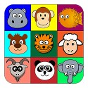 cartoon animal heads in coloured blocks kids shirt