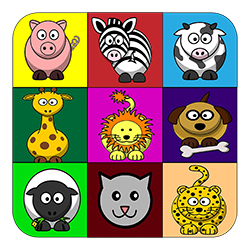 cartoon animals in coloured blocks kids shirt