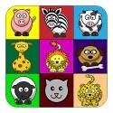 cartoon animals in coloured blocks kids shirt