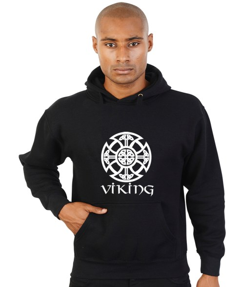viking with shield pattern pagan hoodie