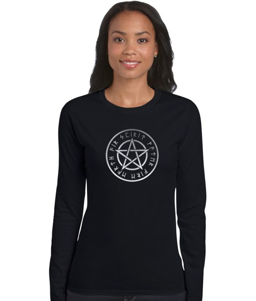 pentacle with runes pagan shirt