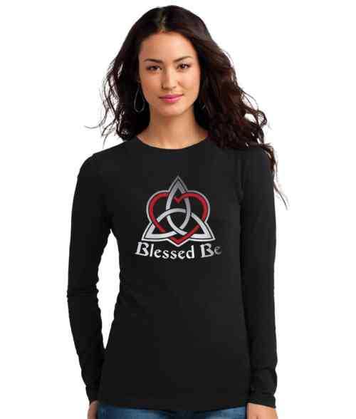 blessed be with triquetra and heart ladies pagan shirt