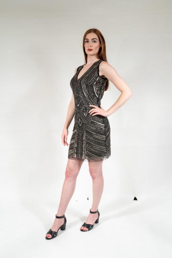 Black & Silver Hand Embellished Lining Sleeveless Mini Dress4