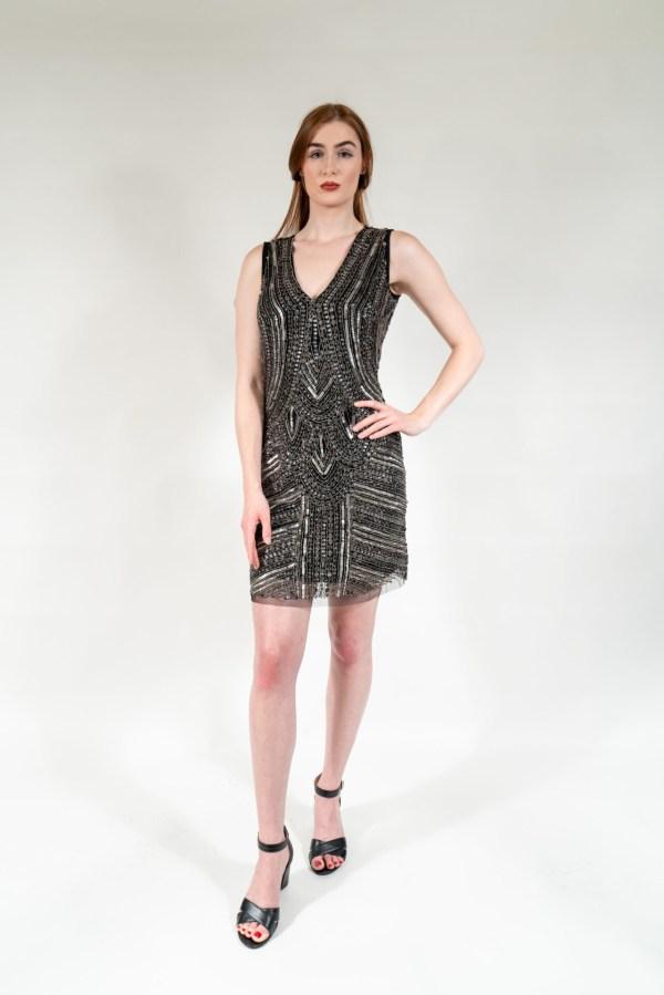 Black & Silver Hand Embellished Lining Sleeveless Mini Dress