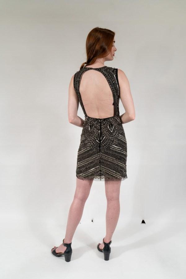 Black & Silver Hand Embellished Lining Sleeveless Mini Dress2