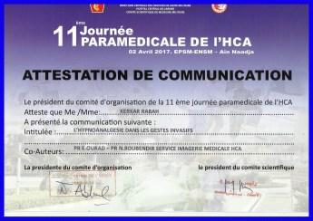 11 eme journée paramédicale de L'hca affiché du 2 avril 2017