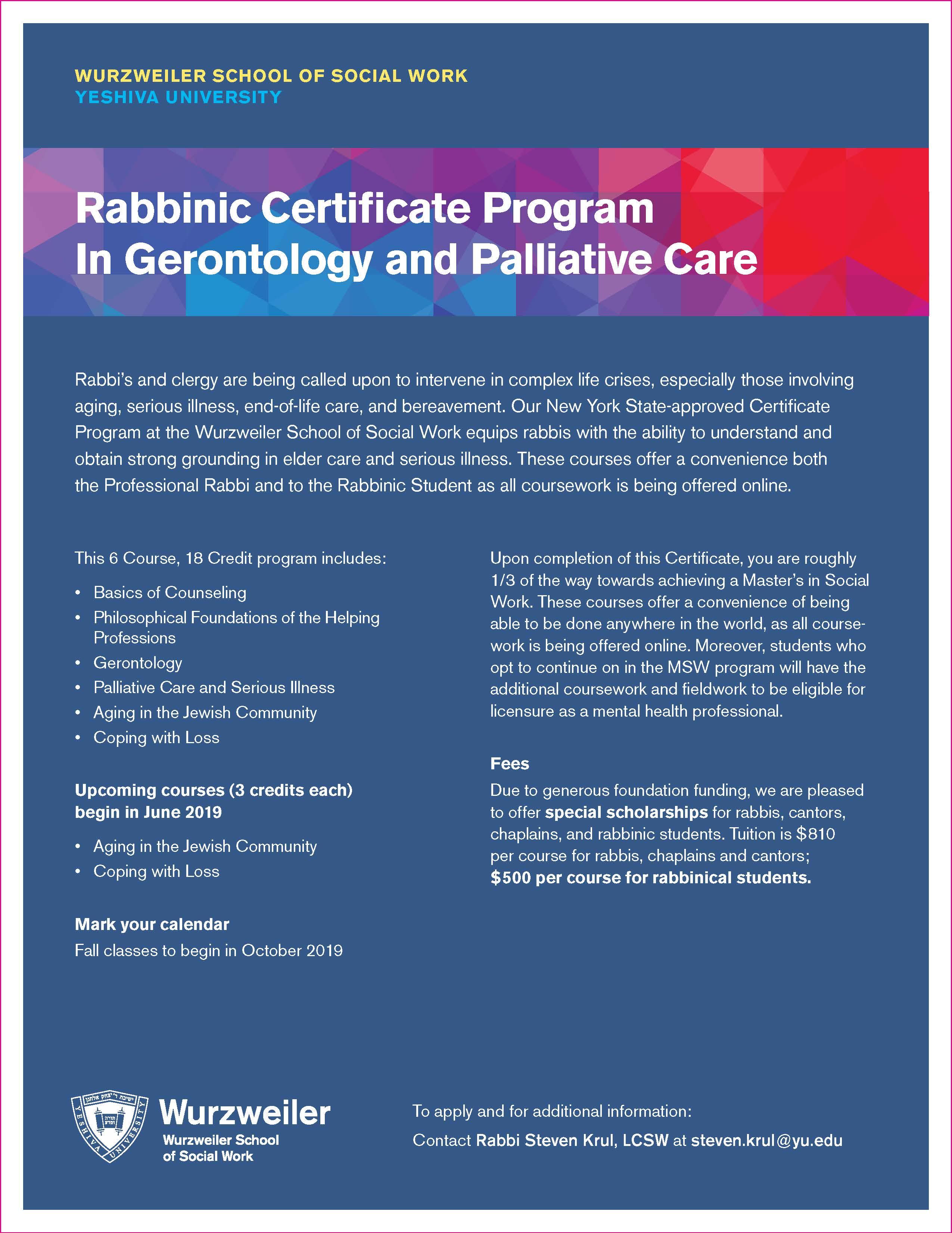 Rabbinic Certificate Program In Gerontology and Palliative