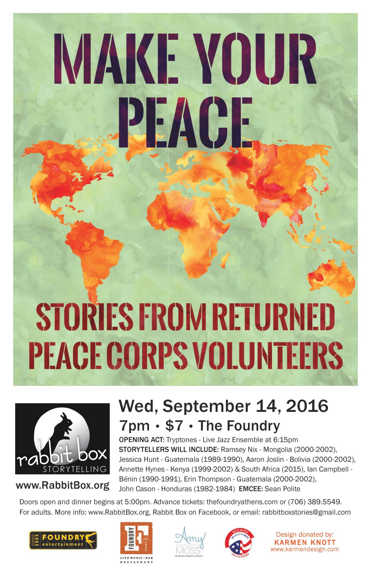 Poster for Make Your Peace: Stories from returned Peace Corps Volunteers