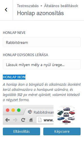 Honlap ikon beállítás