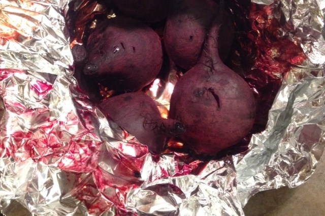 If you're easily able to pierce the skin, you've cooked your beets enough.