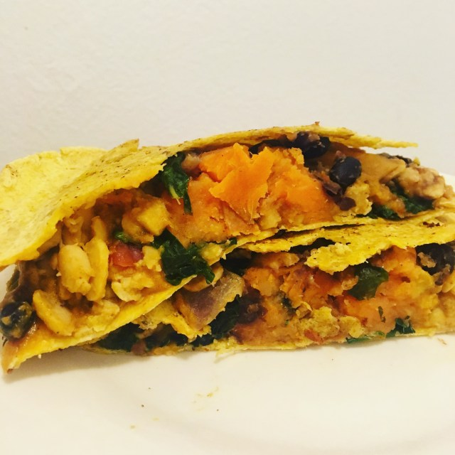 cheesy vegan sweet potato black bean quesadillas