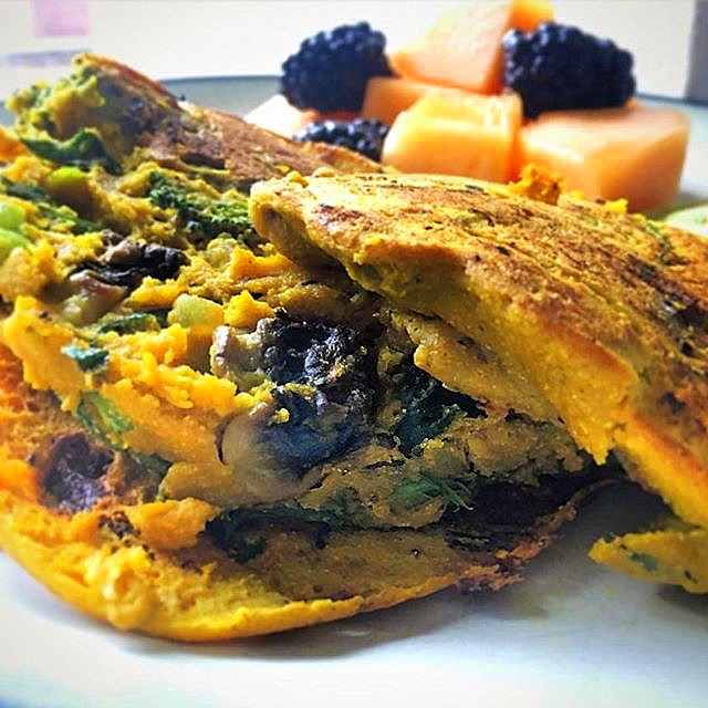 vegan omelette with mushrooms closeup