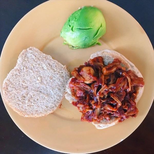 Vegan BBQ jackfruit vegan pulled pork sandwich