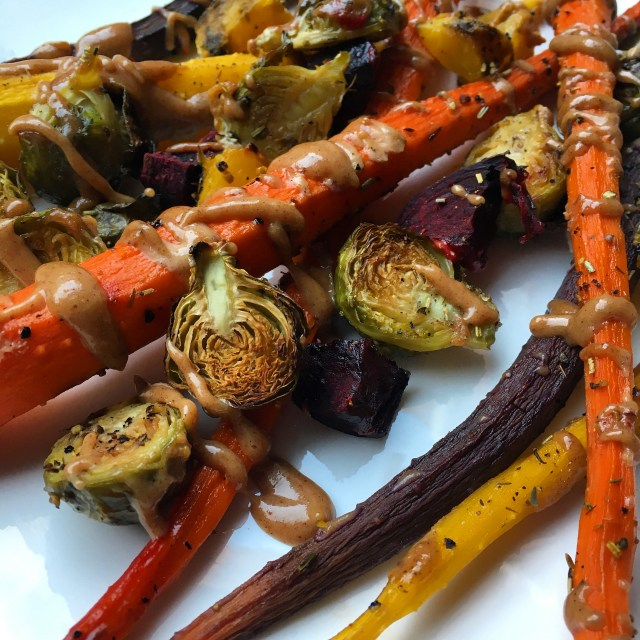 roasted vegetables with maple tahini dressing