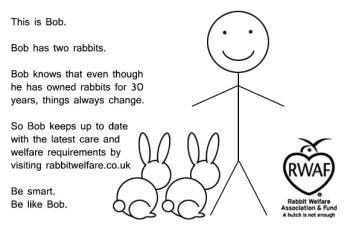 This is Bob. Bob has two rabbits. Bob knows that even though he has owned rabbits for 30 years, things always change. So Bob keeps up to date with the latest care and welfare requirements by visiting rabbitwelfare.co.uk Be smart. Be like Bob.