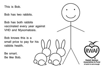 This is Bob. Bob has two rabbits. Bob has both rabbits vaccinated every year against VHD and Myxomatosis. Bob knows this is a small price to pay for his rabbits health. Be smart. Be like Bob.
