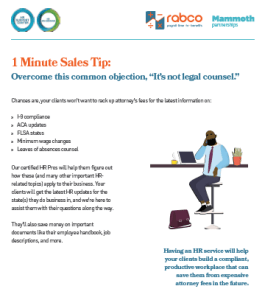 Sales tip overcome legal counsel