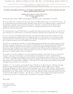 TESTIMONY REGARDING HB 5044, AN ACT MAKING ADJUSTMENTS TO STATE EXPENDITURES FOR THE FISCAL YEAR ENDING JUNE 30, 2017  By Robert M. Goodrich, Co-founder of R.A.C.C.E. To the Committee on Appropriations 2-16-2016