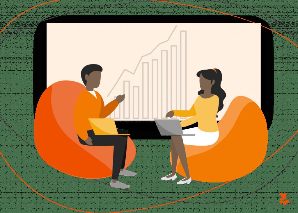 Ilustração de um homem e uma mulher conversando sobre a importância da união do time para uma boa estratégia de segmentação