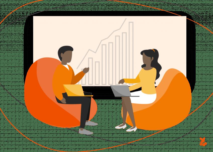 Ilustração de um homem e uma mulher conversando sobre os KPIs das estratégias de marketing digital