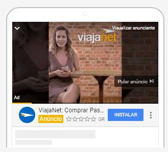 Imagem de um anúncio em vídeo da ViajaNet feito pensando no mercado de apps.
