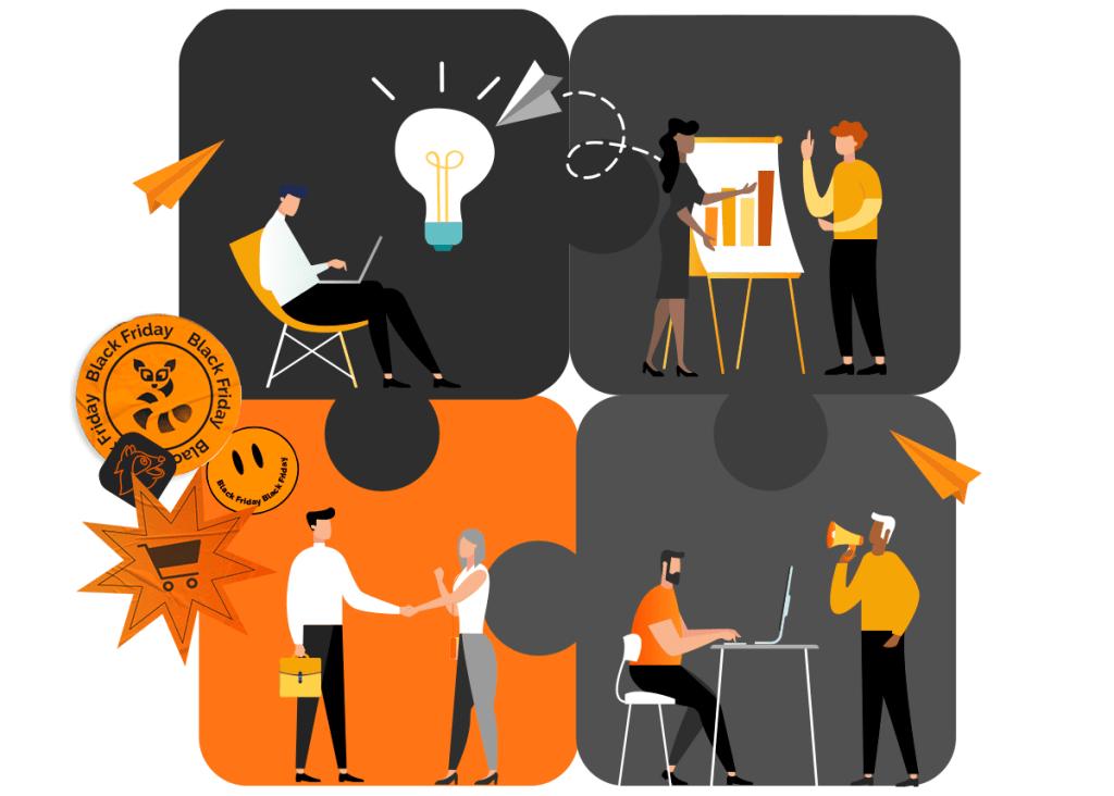 Explore sua estratégia integrada durante a Black Friday, busque coletar ideias e soluções das diversas áreas