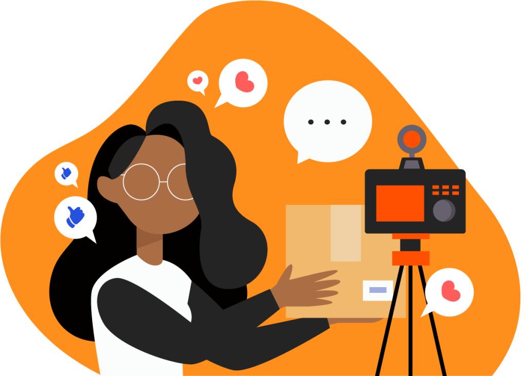 Mulher se auto gravando para suas redes sociais. Representando o processo prático que acontece numa estratégia de marketing de influência