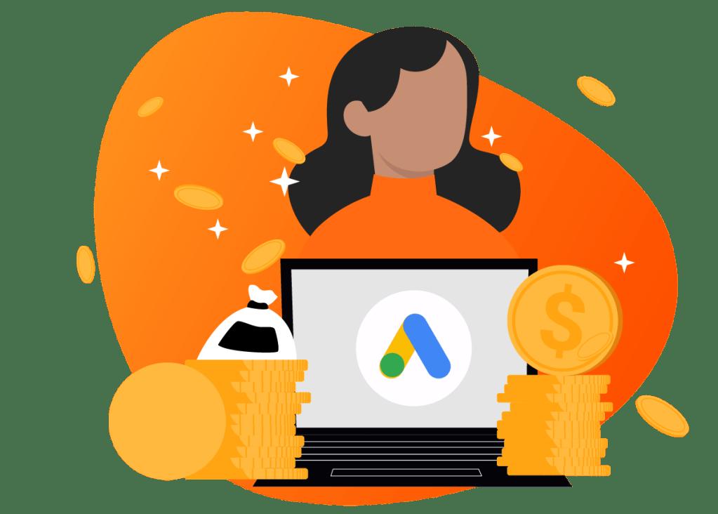 Imagem representando uma mulher, operando campanhas em Google Ads e aumentando seu retorno através do Market Mix Modeling
