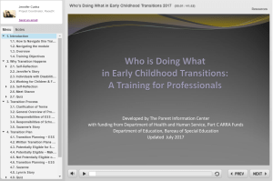 Who's doing what in early childhood transitions module