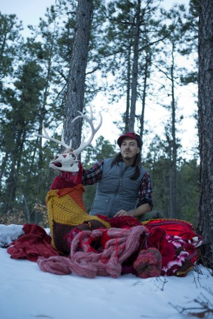 cannupa hanska luger on his land with his contribution to Meow Wolf's House of Eternal Return