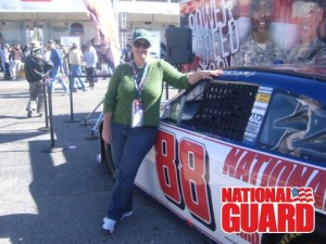 Checking out Dale, Jr.'s car at Texas Motor Speedway.