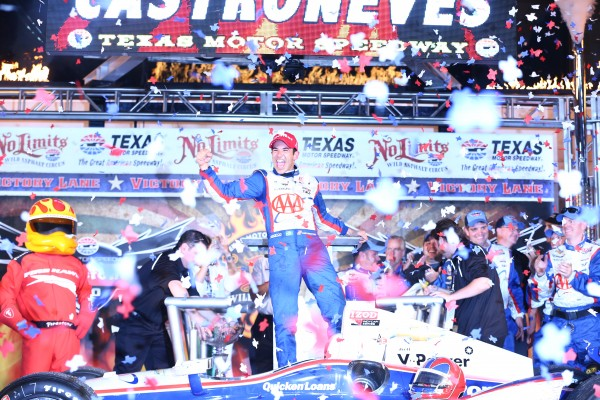 Helio Castroneves of Brazil, driver of the #3 AAA Insurance Team Penske Chevrolet, celebrates in Victory Lane after winning the IZOD IndyCar Series Firestone 550 at Texas Motor Speedway on June 8, 2013 in Fort Worth, Texas. (Photo by Chris Graythen/Getty Images for Texas Motor Speedway)