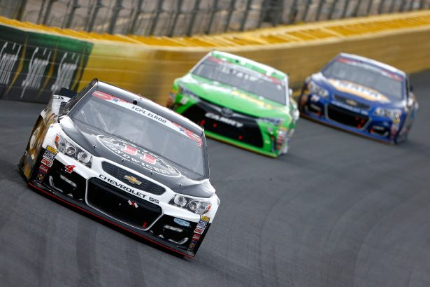 Kevin Harvick, driver of the #4 Jimmy John's Chevrolet, leads a pack of cars during the NASCAR Sprint Cup Series Coca-Cola 600 at Charlotte Motor Speedway on May 29, 2016 in Charlotte, North Carolina. (Photo by Brian Lawdermilk/Getty Images)
