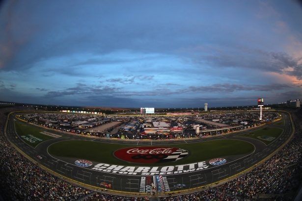 A general view of cars racing during the NASCAR Sprint Cup Series Coca-Cola 600 at Charlotte Motor Speedway on May 29, 2016 in Charlotte, North Carolina. (Photo by Streeter Lecka/Getty Images)