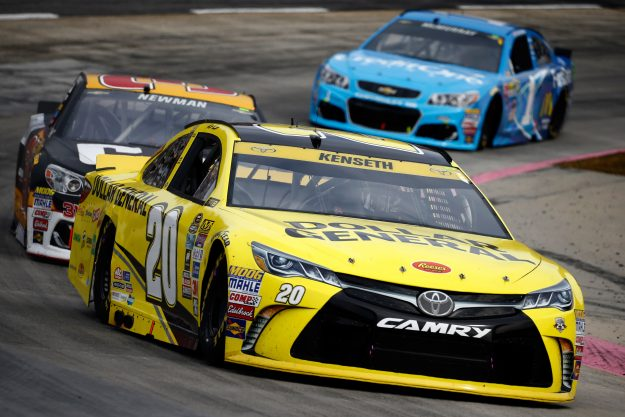Matt Kenseth, driver of the #20 Dollar General Toyota, leads a pack of cars during the NASCAR Sprint Cup Series Goody's Fast Relief 500 at Martinsville Speedway on October 30, 2016 in Martinsville, Virginia. (Photo by Jeff Zelevansky/Getty Images)