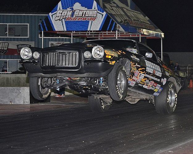 James Patterson gets some big air in his Camaro. Photo by JM Hallas