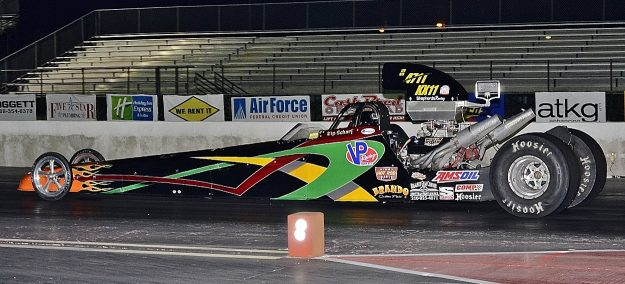 Kip Scharf in his dragster making a pass. Photo by JM Hallas