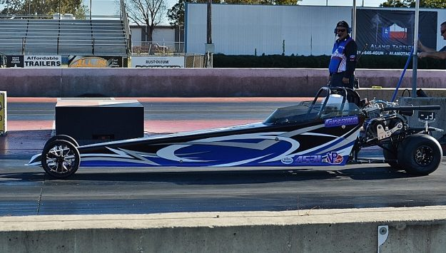 Jr Dragster co-winner Graeme Rufenacht making a solo pass. Photo by JM Hallas