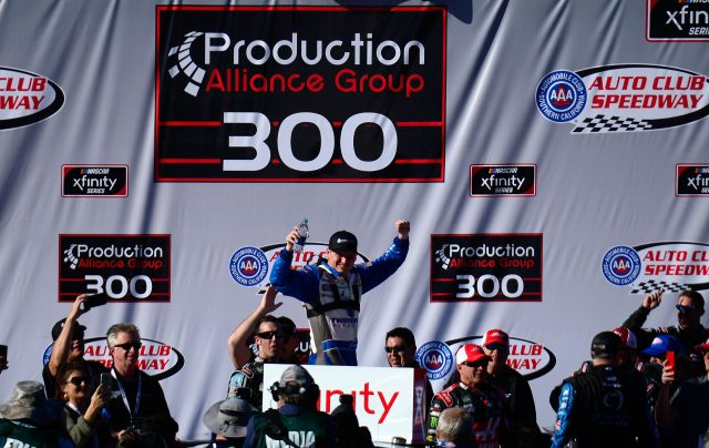 Cole Custer wins at Fontana, hits pause on Kyle Busch's run
