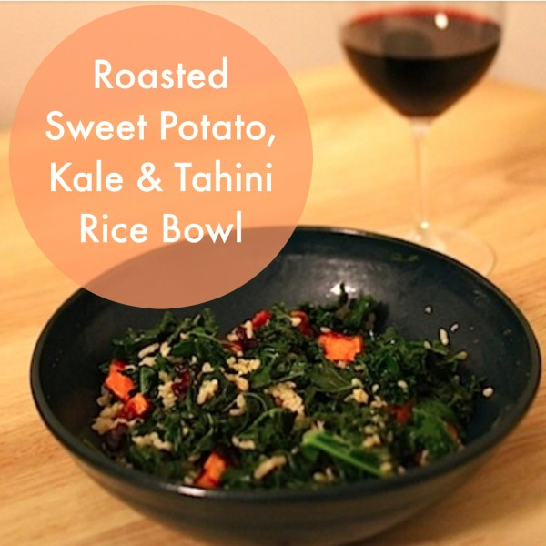 Roasted Sweet Potato,Kale and Tahini Rice Bowl